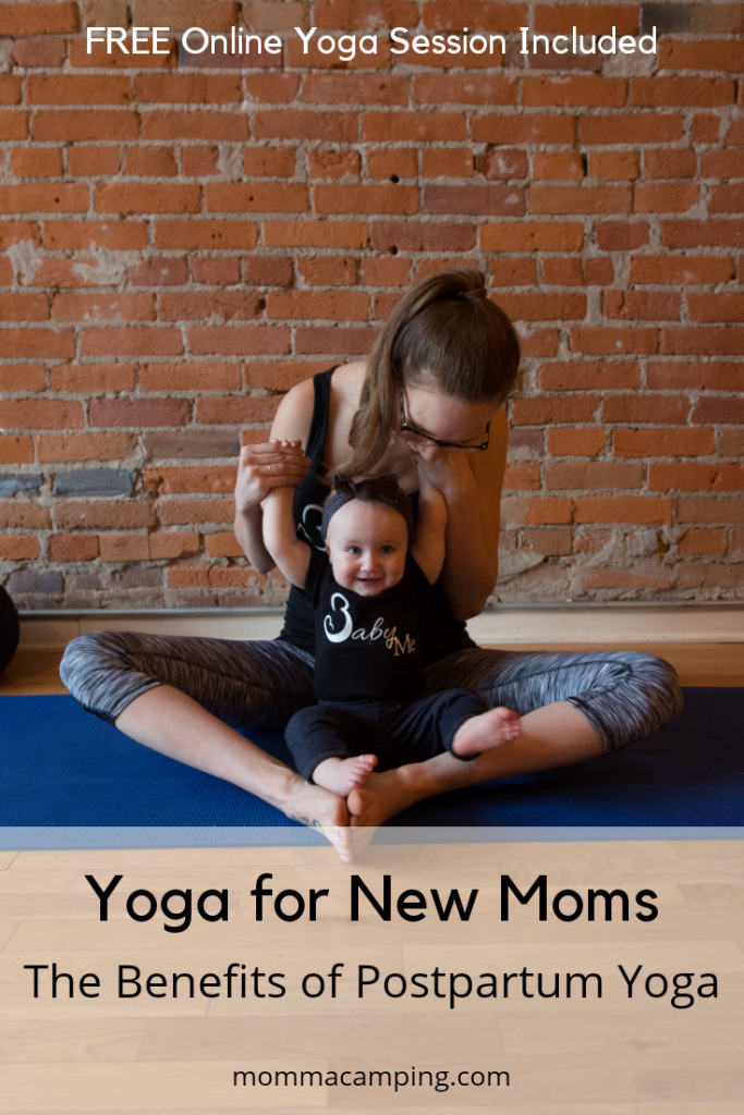 Yoga for New Moms is a great way to reconnect with your body and breath while bonding with your baby! Find out the benefits of Postpartum Yoga and watch a free online yoga sessions too! #selfcarefornewmoms #yogaformoms #postpartumyoga